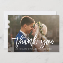 Brushed Charm Wedding Thank You Photo Card White