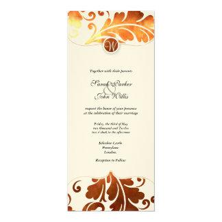 brushed Copper Damask Paisley Wedding Invite