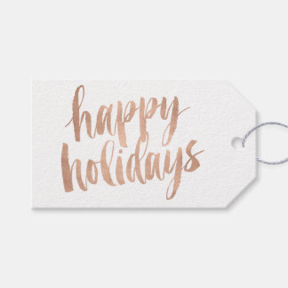 Brushed Copper Happy Holidays Christmas Gift Tag