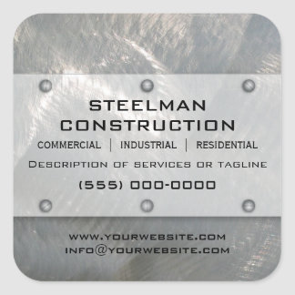 Brushed Faux Silver Metal-Look Promotional Square Sticker