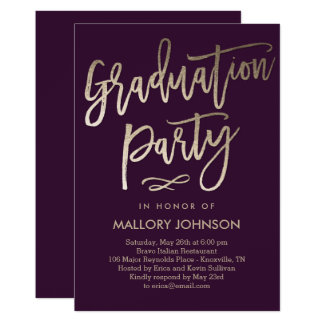 Brushed Glimmer EDITABLE COLOR Graduation Invite