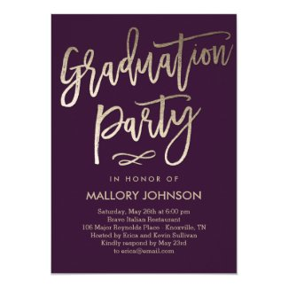 Brushed Glimmer EDITABLE COLOR Graduation Invite