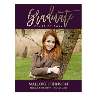 Brushed Glimmer EDITABLE COLOR Graduation Postcard