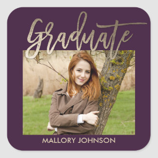 Brushed Glimmer EDITABLE COLOR Graduation Stickers
