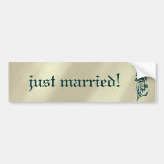 Brushed Gold Art Deco Wedding Bumper Stickers