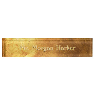 Brushed Gold Engraved Name Plate