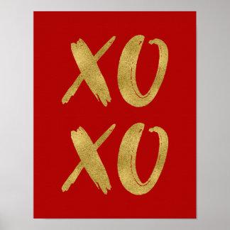 Brushed Gold Foil XOXO Valentine Poster Sign