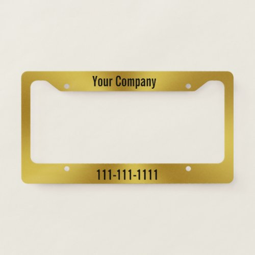 Brushed Gold Look  Phone Number Company Ad License Plate Frame