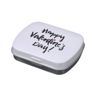 "Brushed ""Happy Valentine's Day"" Jelly Belly Candy Tins"