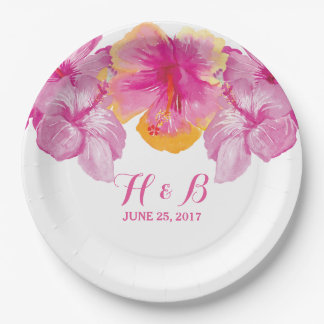 Brushed Hibiscus Floral Wedding Paper Plates