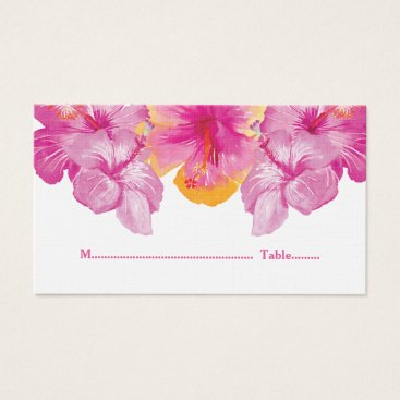 Beach Themed Brushed Hibiscus Floral Wedding Place Cards