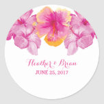 Brushed Hibiscus Floral Wedding Stickers