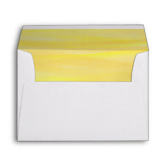 Brushed Lemon Yellow Ombre Watercolor Lined Envelope