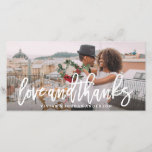 """Brushed Love and Thanks Wedding Photo Card<br><div class=""""desc"""">Thank your guests with a customized wedding thank you photo card to showcase images from you special day!</div>"""