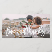 Brushed Love and Thanks Wedding Photo Card