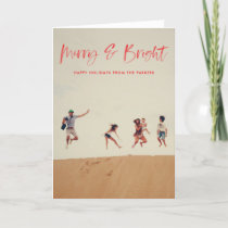 Brushed Merry and Bright Folded holiday card red