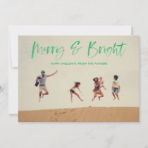 Brushed Merry and Bright Holiday Photo Card Green
