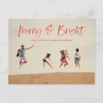 Brushed Merry and Bright Holiday Postcard red