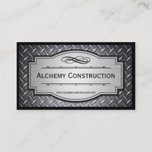 Steel worker business cards zazzle brushed metal and diamond grate business cards colourmoves