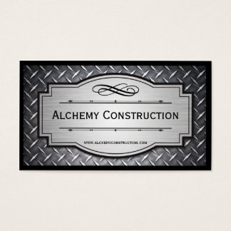 Brushed Metal and Diamond grate business cards