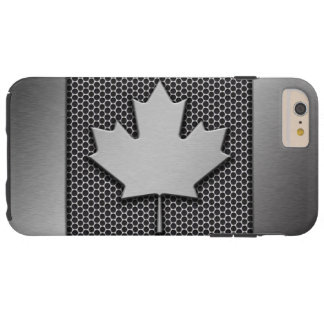 Brushed Metal Canadian Flag Tough iPhone 6 Plus Case