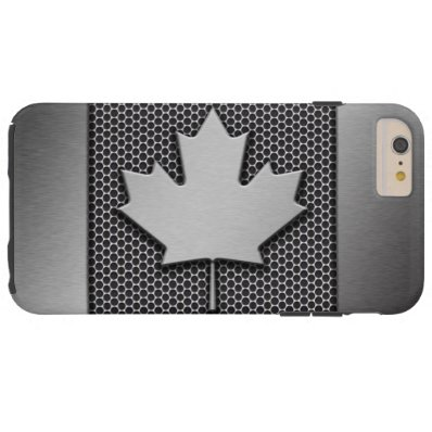 Brushed Metal Canadian Flag Tough iPhone 6 Plus Case