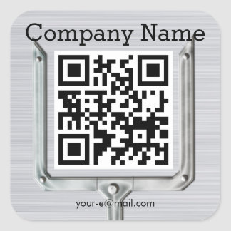 Brushed Metal company name QR code Square Sticker