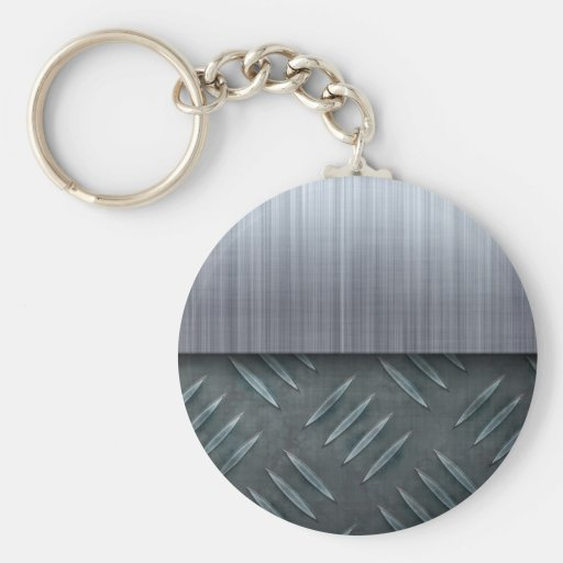 Brushed Metal Diamond Plate Template Basic Round Button Keychain