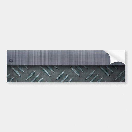 Brushed Metal Diamond Plate Template Bumper Sticker