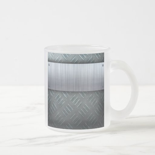 Brushed Metal Diamond Plate Template Frosted Glass Coffee Mug