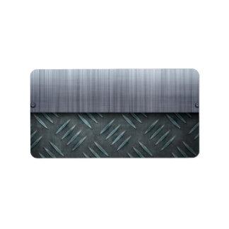 Brushed Metal Diamond Plate Template Label
