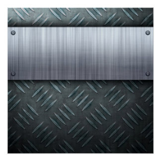 Brushed Metal Diamond Plate Template Poster