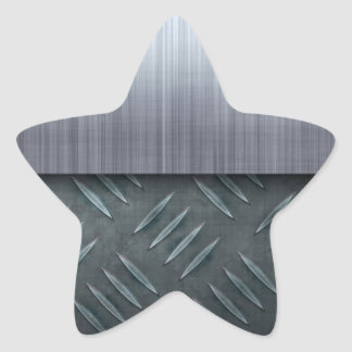 Brushed Metal Diamond Plate Template Star Sticker