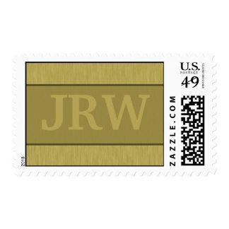 Brushed Metal: Gold Textured Monogram Postage