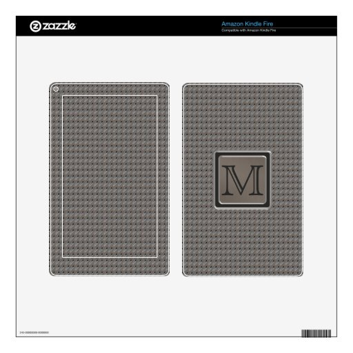 Brushed Metal Grille Look with Monogram Decals For Kindle Fire