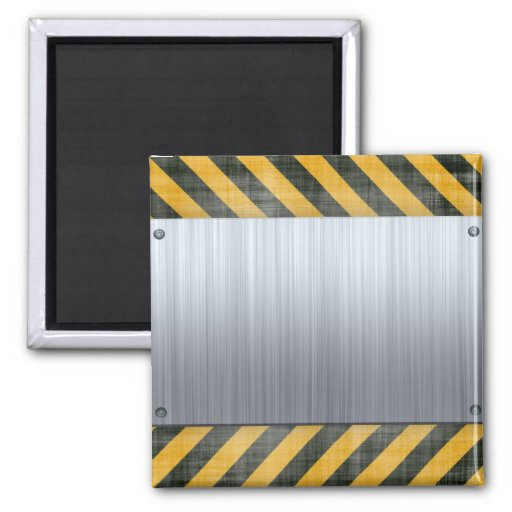 Brushed Metal Hazard Construction Layout 2 Inch Square Magnet