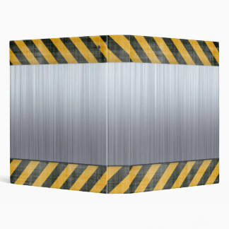 Brushed Metal Hazard Construction Layout 3 Ring Binder
