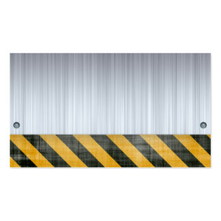 Brushed Metal Hazard Construction Layout Double-Sided Standard Business Cards (Pack Of 100)