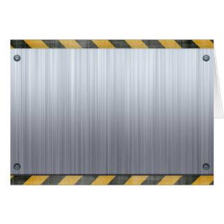 Brushed Metal Hazard Construction Layout Greeting Card