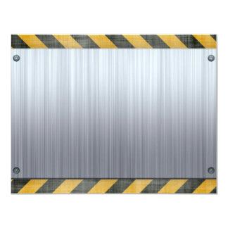 Brushed Metal Hazard Construction Layout Card