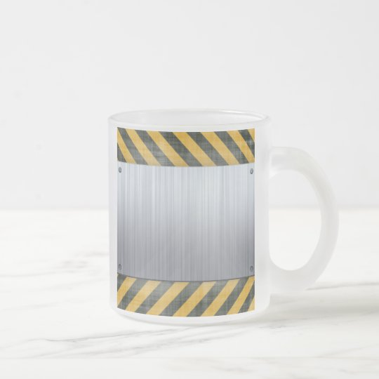 Brushed Metal Hazard Construction Layout Frosted Glass Coffee Mug