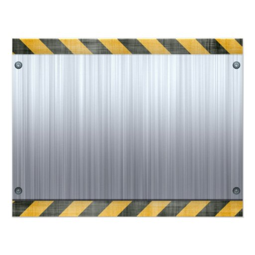 Brushed Metal Hazard Construction Layout Custom Announcements