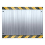 Brushed Metal Hazard Construction Layout 4.25x5.5 Paper Invitation Card
