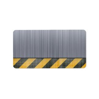 Brushed Metal Hazard Construction Layout Label