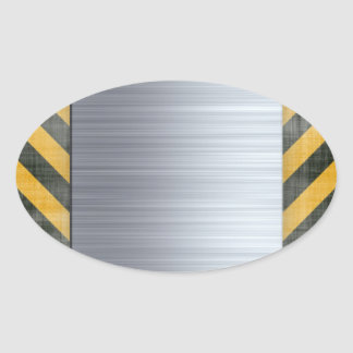 Brushed Metal Hazard Construction Layout Oval Sticker