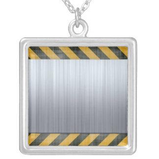 Brushed Metal Hazard Construction Layout Square Pendant Necklace