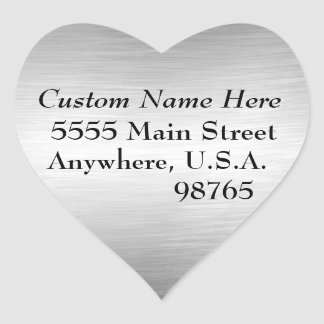 Brushed Metal Look Address Labels Heart Stickers