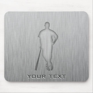 Brushed metal-look Baseball Mouse Pad