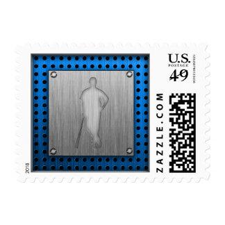 Brushed metal-look Baseball Postage Stamps