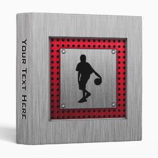 Brushed metal look, Basketball; red 3 Ring Binder